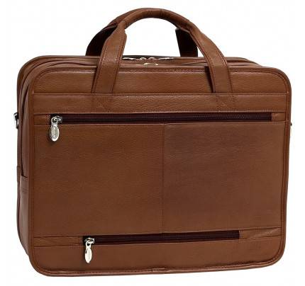 """McKlein River West 15.6"""" Leather Fly Through Checkpoint Friendly Laptop Briefcase"""