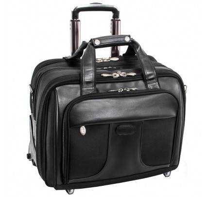"""McKlein Chicago 15.6"""" Nylon Patented Detachable  Wheeled Laptop Overnight with Removable Briefcase"""