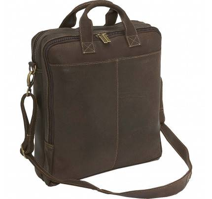 Ledonne Leather Distressed Vertical Laptop Brief Bag