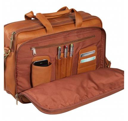 Ledonne Leather Two Compartment Computer Brief Bag