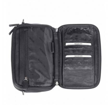 Mancini Colombian Double Compartment Leather Toiletry Kit Bag