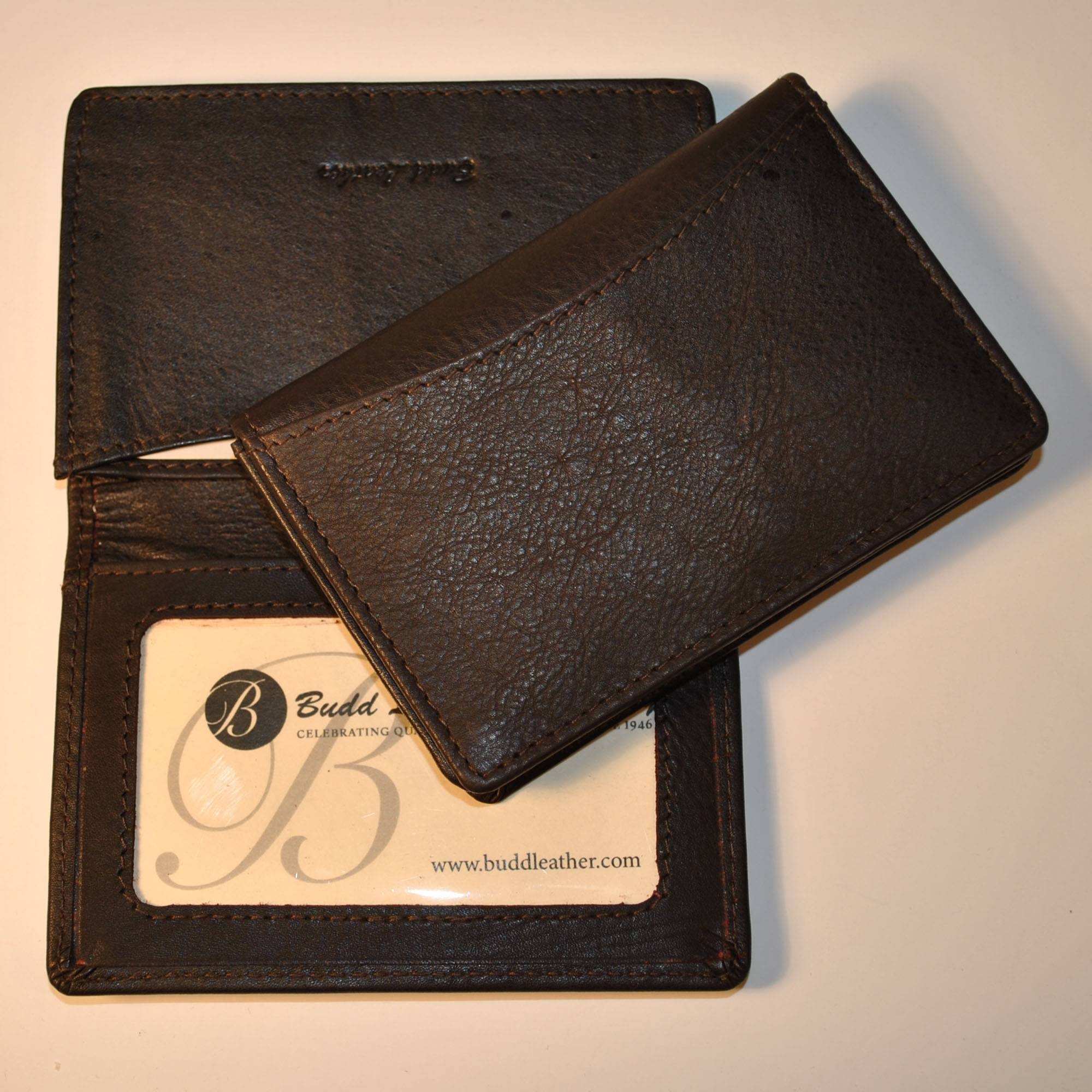 Budd Leather Calf Slim Gusseted Business Card Case RFID